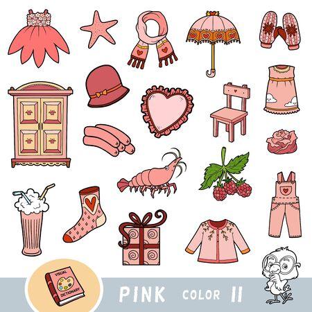 Insieme variopinto di oggetti di colore rosa. Dizionario visivo per bambini sui colori di base. Immagini dei cartoni animati per imparare all'asilo e all'asilo Vettoriali