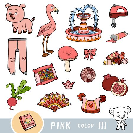 Ensemble coloré d'objets de couleur rose. Dictionnaire visuel pour les enfants sur les couleurs de base. Images de dessins animés pour apprendre à la maternelle et au préscolaire