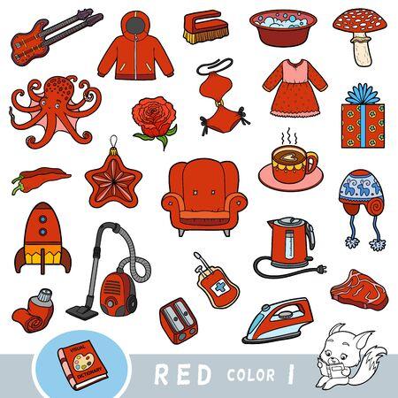 Insieme variopinto di oggetti di colore rosso. Dizionario visivo per bambini sui colori di base. Immagini dei cartoni animati per l'apprendimento all'asilo e all'asilo Vettoriali