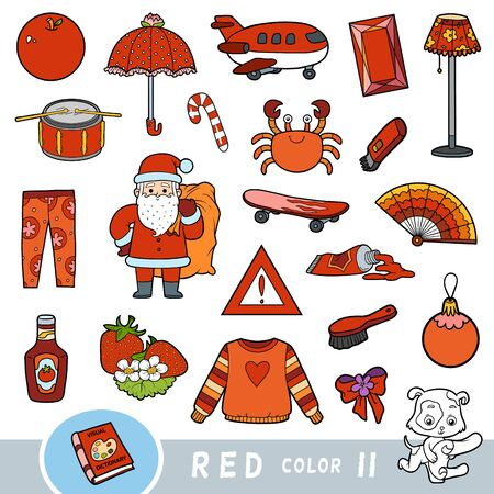 Colorful set of red color objects. Visual dictionary for children about the basic colors. Cartoon images to learning in kindergarten and preschool Ilustracja