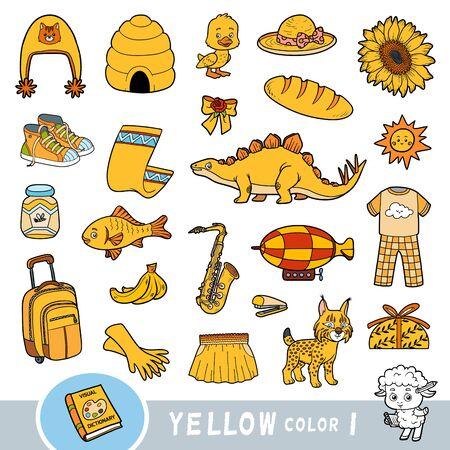 Bunte Reihe von gelben Farbobjekten. Visuelles Wörterbuch für Kinder über die Grundfarben. Cartoon-Bilder zum Lernen im Kindergarten und in der Vorschule Vektorgrafik