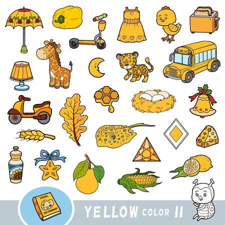 Insieme variopinto di oggetti di colore giallo. Dizionario visivo per bambini sui colori di base. Immagini dei cartoni animati per imparare all'asilo e all'asilo