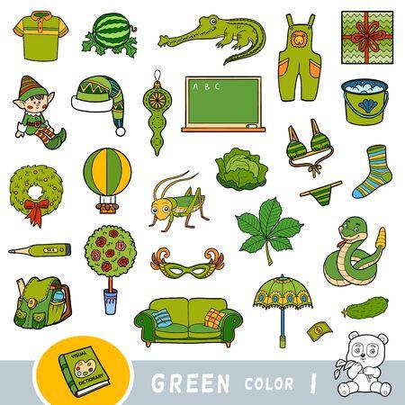 Bunter Satz grüner Farbobjekte. Visuelles Wörterbuch für Kinder über die Grundfarben. Cartoon-Bilder zum Lernen im Kindergarten und in der Vorschule
