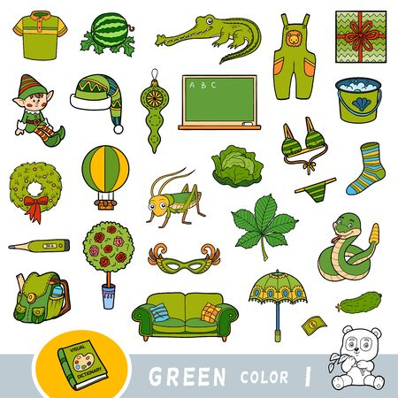 Insieme variopinto di oggetti di colore verde. Dizionario visivo per bambini sui colori di base. Immagini dei cartoni animati per l'apprendimento all'asilo e all'asilo