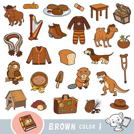Insieme variopinto di oggetti di colore marrone. Dizionario visivo per bambini sui colori di base. Immagini dei cartoni animati per l'apprendimento all'asilo e all'asilo