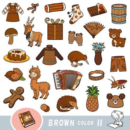 Insieme variopinto di oggetti di colore marrone. Dizionario visivo per bambini sui colori di base. Immagini dei cartoni animati per l'apprendimento all'asilo e all'asilo Vettoriali