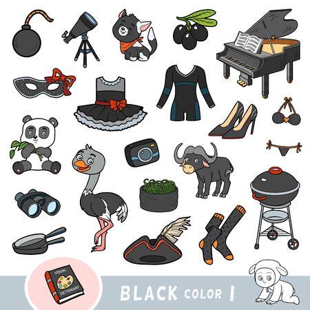Insieme variopinto di oggetti di colore nero. Dizionario visivo per bambini sui colori di base. Immagini dei cartoni animati per imparare all'asilo e all'asilo