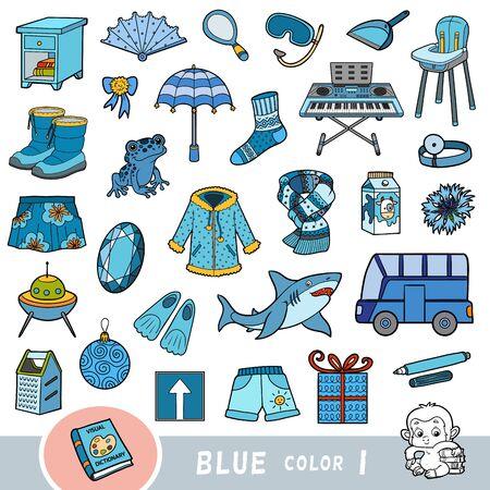 Insieme variopinto di oggetti di colore blu. Dizionario visivo per bambini sui colori di base. Immagini dei cartoni animati per l'apprendimento all'asilo e all'asilo Vettoriali