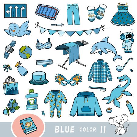 Colorful set of blue color objects. Visual dictionary for children about the basic colors. Cartoon images to learning in kindergarten and preschool