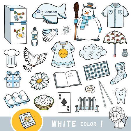 Bunte Reihe von weißen Farbobjekten. Visuelles Wörterbuch für Kinder über die Grundfarben. Cartoon-Bilder zum Lernen im Kindergarten und in der Vorschule
