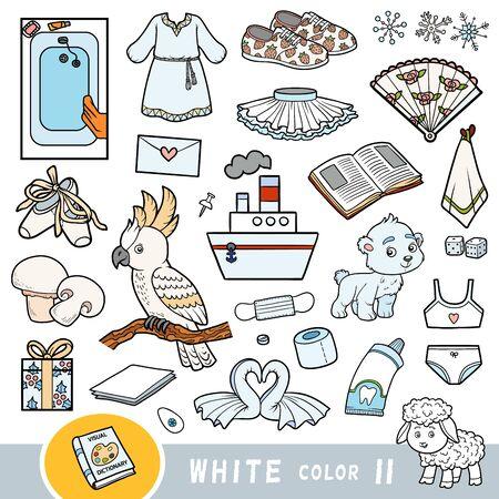 Ensemble coloré d'objets de couleur blanche. Dictionnaire visuel pour les enfants sur les couleurs de base. Images de dessins animés pour apprendre à la maternelle et au préscolaire