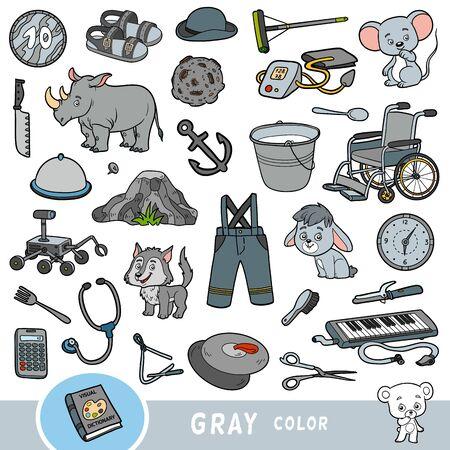 Bunte Reihe von grauen Farbobjekten. Visuelles Wörterbuch für Kinder über die Grundfarben. Cartoon-Bilder zum Lernen im Kindergarten und in der Vorschule