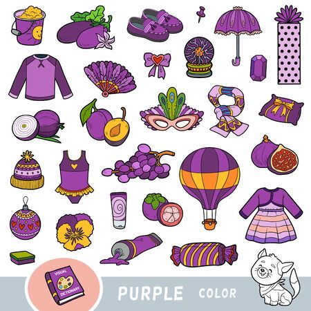 Bunte Reihe von lila Farbobjekten. Visuelles Wörterbuch für Kinder über die Grundfarben. Cartoon-Bilder zum Lernen im Kindergarten und in der Vorschule