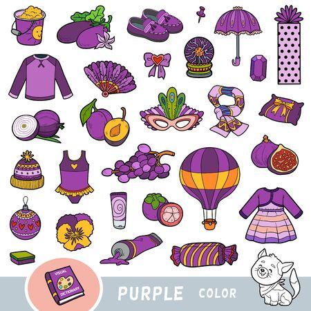Kolorowy zestaw obiektów w kolorze fioletowym. Słownik wizualny dla dzieci o podstawowych kolorach. Obrazy animowane do nauki w przedszkolu i przedszkolu