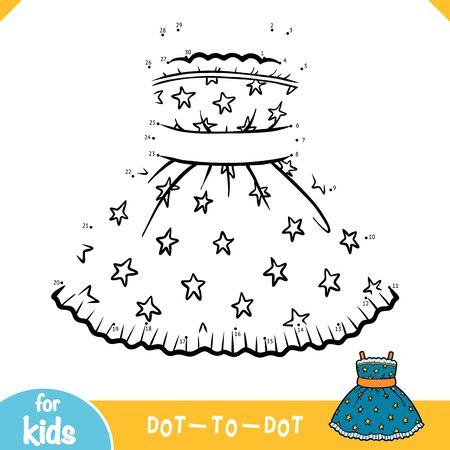 Numbers game, education dot to dot game for children, Dress with a stars pattern Ilustracja