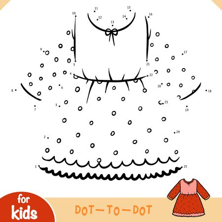 Numbers game, education dot to dot game for children, Dress with a polka dots