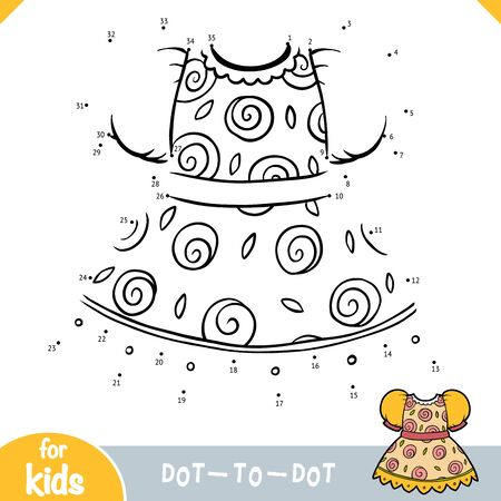 Numbers game, education dot to dot game for children, Dress with rose pattern Ilustracja