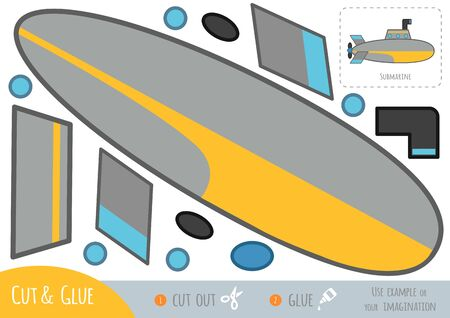 Education paper game for children, Submarine. Use scissors and glue to create the image.