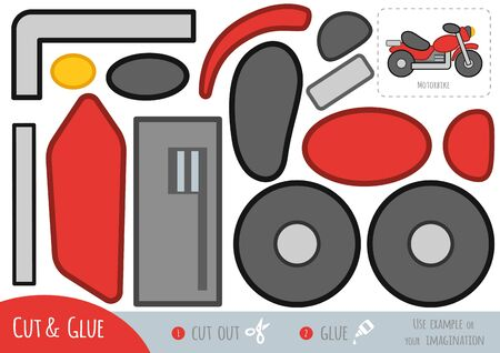 Education paper game for children, Motorbike. Use scissors and glue to create the image. Ilustracja