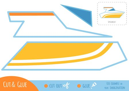 Education paper game for children, Speedboat. Use scissors and glue to create the image.