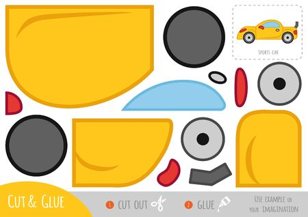 Education paper game for children, Sports car. Use scissors and glue to create the image.