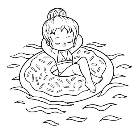Coloring book for children, Girl and inflatable donut swimming ring