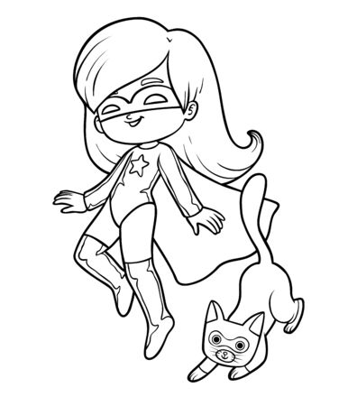 Coloring book for children, Super hero girl with a cat