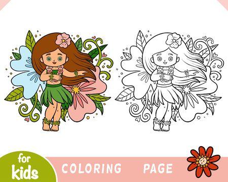 Coloring book for children, Hawaiian girl dancing hula