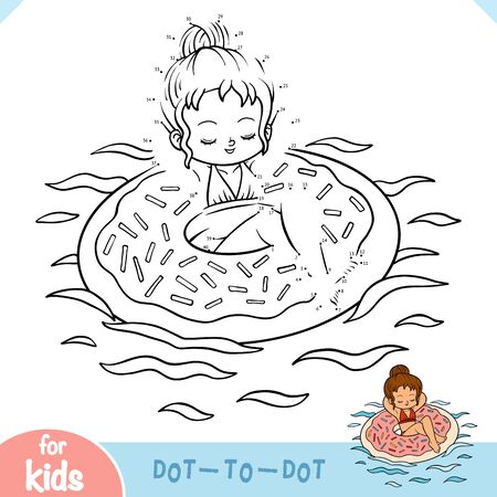 Numbers game, education dot to dot game for children, Girl and inflatable donut swimming ring Ilustracja