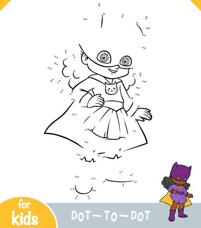 Numbers game, education dot to dot game for children, Super hero girl Ilustracja