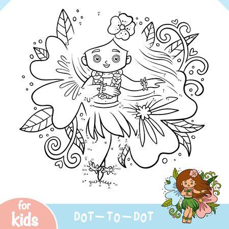 Numbers game, education dot to dot game for children, Hawaiian girl dancing hula