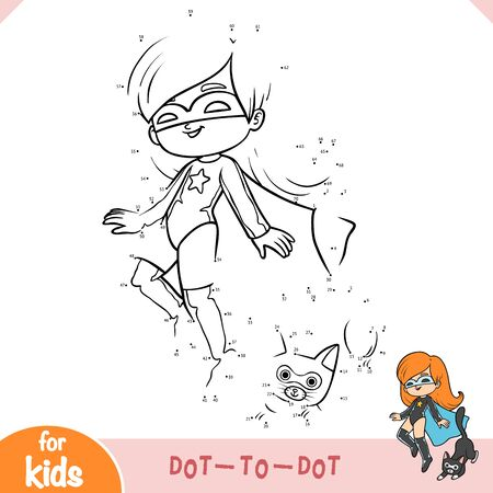 Numbers game, education dot to dot game for children, Super hero girl with a cat