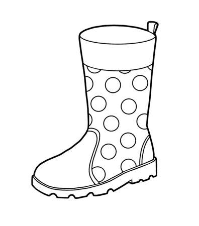 Libro de colorear para niños, botas de goma. Ilustración de vector