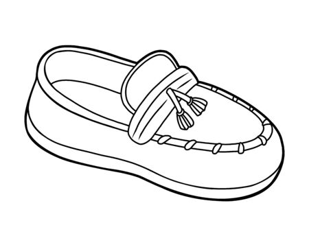 Coloring book for children, cartoon shoe collection. Moccasin
