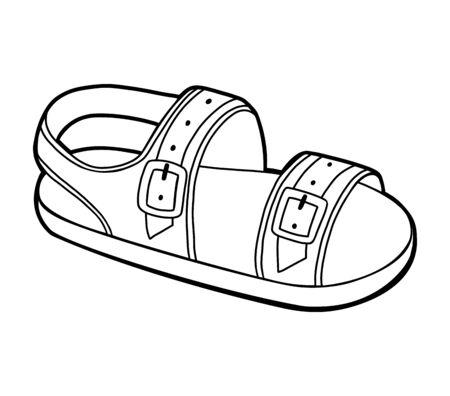 Malbuch für Kinder, Cartoon-Schuhkollektion. Herren Sandale Vektorgrafik