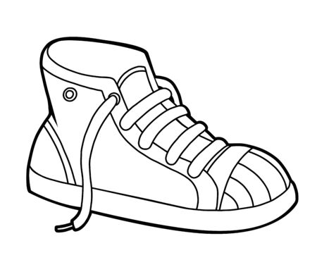 Coloring book for children, cartoon shoe collection. Sneaker