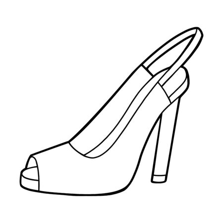 Coloring book for children, cartoon shoe collection. Slingback 向量圖像