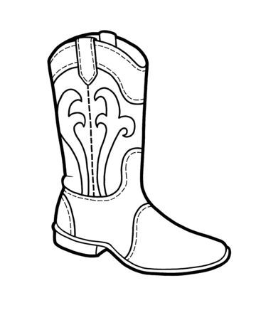 Coloring book for children, cartoon shoe collection. Western boot Vetores