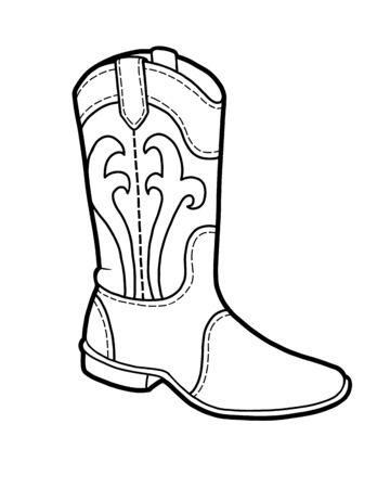 Livre de coloriage pour enfants, collection de chaussures de dessin animé. botte western Vecteurs