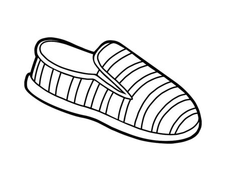 Coloring book for children, cartoon shoe collection. Slip on shoe