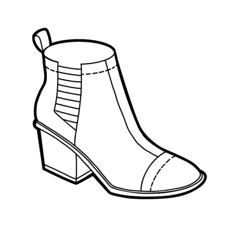 Coloring book for children, cartoon shoe collection. Chelsea boot Illustration