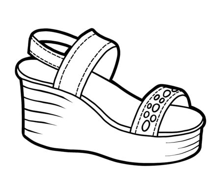 Coloring book for children, cartoon shoe collection. Wedge-heeled sandal 向量圖像