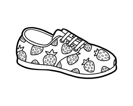Coloring book for children, cartoon shoe collection. Plimsoll