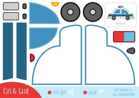 Bildungspapierspiel für Kinder, Polizeiauto. Verwenden Sie Schere und Kleber, um das Bild zu erstellen.