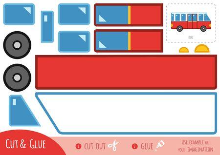 Bildungspapierspiel für Kinder, Bus. Verwenden Sie Schere und Kleber, um das Bild zu erstellen. Vektorgrafik