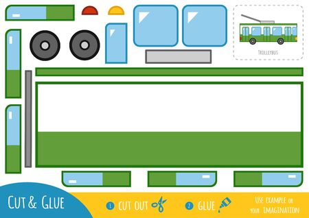 Education paper game for children, Trolleybus. Use scissors and glue to create the image.