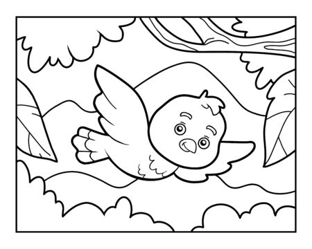 Coloring book for children, The bird flies on a background of mountains