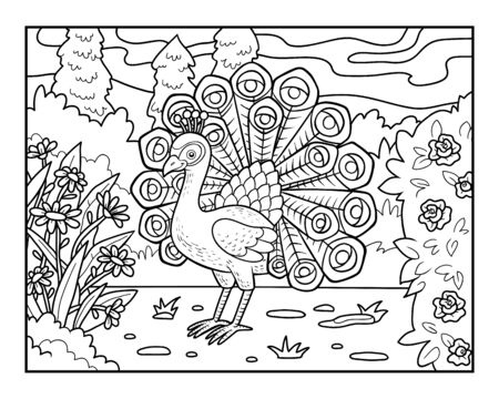 Coloring book for children, Peacock in the royal park