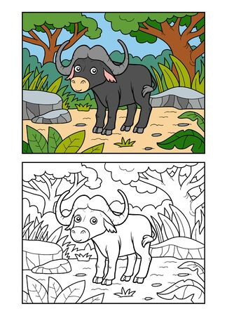 Libro da colorare per bambini, Buffalo nella savana africana