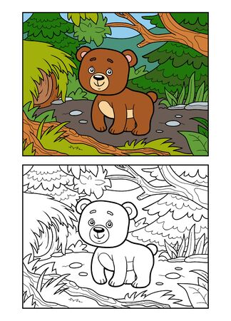 Coloring book for children, Bear in a forest glade